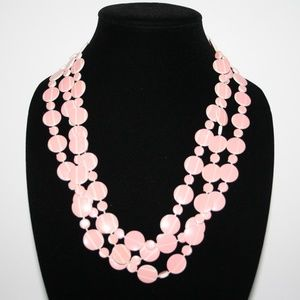 Beautiful long pink and white necklace 74""